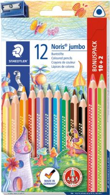 1274 KP50 STAEDTLER Farbstift Noris Club 4 mm gelb rot blau Köcher mit 50 Bastel- & Kreativ-Bedarf für Kinder