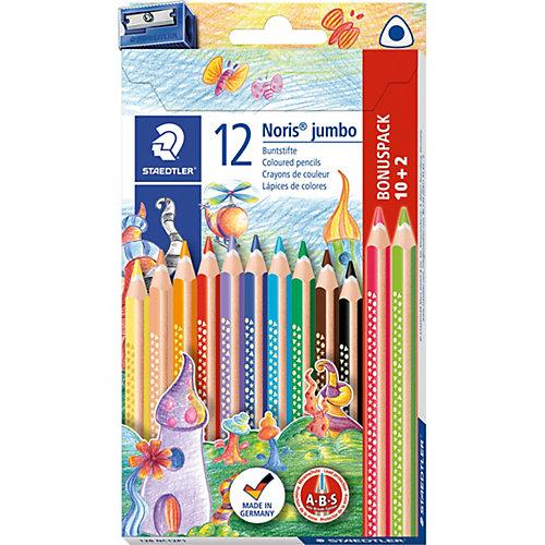 Набор цветных карандашей Staedtler «Noris Club Jumbo», 12 цветов + точилка от Staedtler