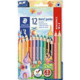 Набор цветных карандашей Staedtler «Noris Club Jumbo», 12 цветов + точилка