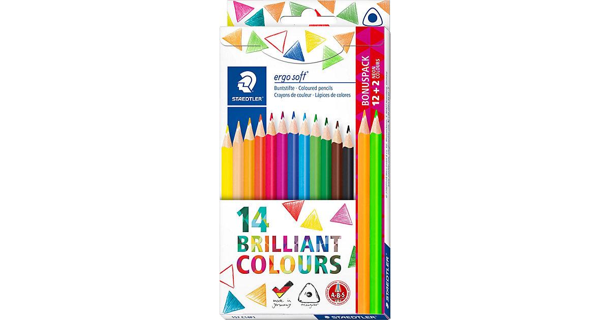 Buntstifte ergo soft 3-Kant, 12&2 Farben
