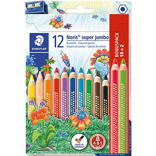 Набор цветных карандашей Staedtler «Noris Club Super Jumbo», 12 цветов + точилка от Staedtler