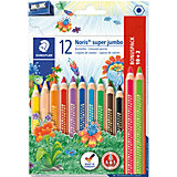 Набор цветных карандашей Staedtler «Noris Club Super Jumbo», 12 цветов + точилка