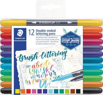 Набор двусторонних фломастеров с наконечником-кисточкой Staedtler Brush letter duo, 12 цветов