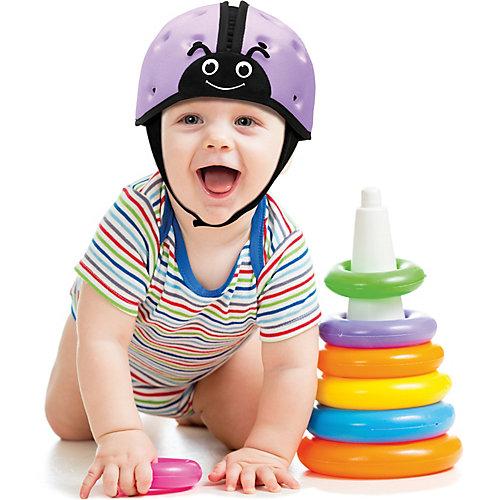 """Мягкая шапка-шлем для защиты головы  SafeheadBABY """"Божья коровка"""", фиолетовый"""
