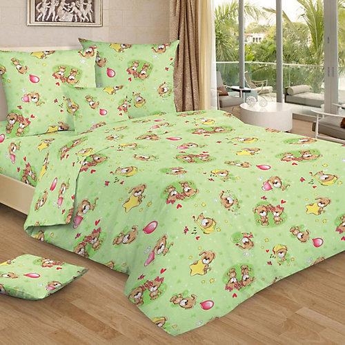 Детское постельное белье 3 предмета Letto, простыня на резинке, BGR-75 - зеленый от Letto