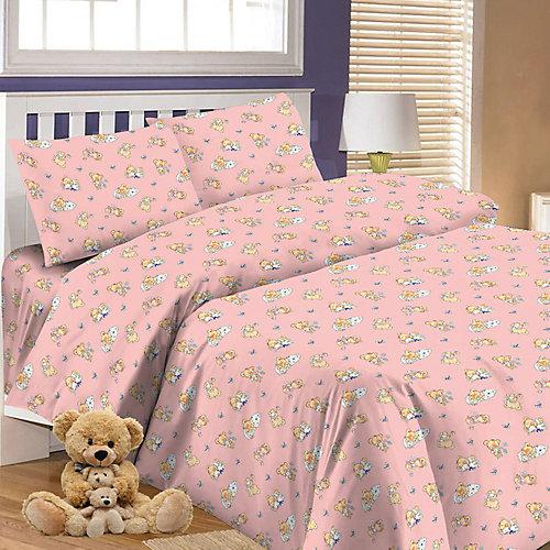 Детское постельное белье 3 предмета Letto, простыня на резинке, BGR-63 - розовый от Letto
