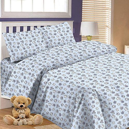Детское постельное белье 3 предмета Letto, простыня на резинке, BGR-65 - синий от Letto