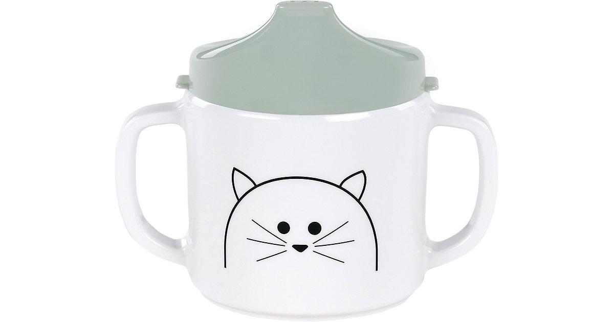 Trinklernbecher mit Doppelgriff, Little Chums Cat white