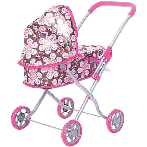 Коляска для кукол Buggy Boom, коричнево-розовая в цветочек от Buggy Boom