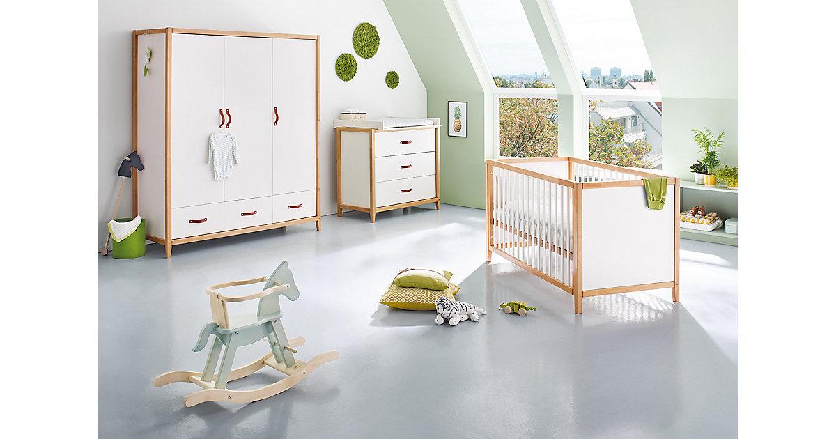 Pinolino · Komplett Kinderzimmer Calimero, breit und groß, 3-tlg. (Kinderbett 70 x 140cm, breite Wickelkommode und Kleiderschrank 3-türig), weiß lackiert, Buche