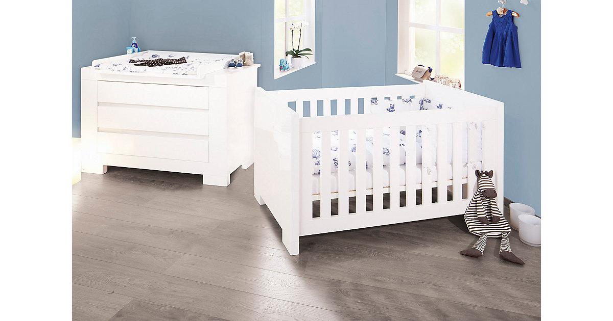 Pinolino · Sparset Sky, extrabreit, 2-tlg. (Kinderbett 70 x 140 cm und breite Wickelkommode), weiß lackiert