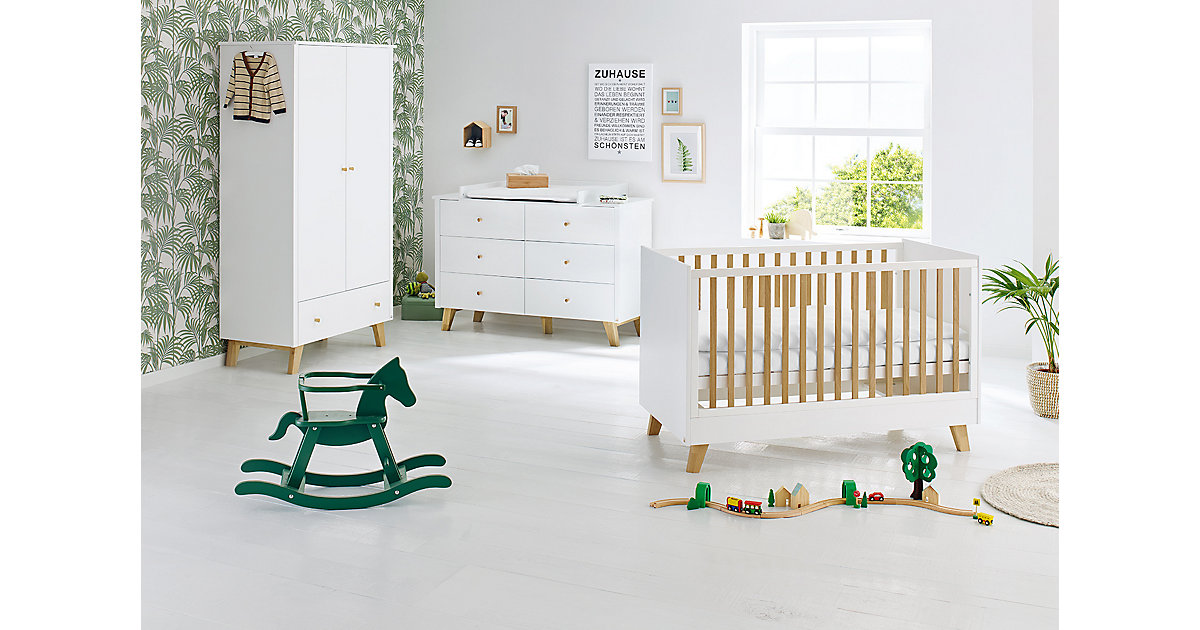 Pinolino · Komplett Kinderzimmer Pan, extrabreit, weiß lackiert, Eiche, 70 x 140 cm