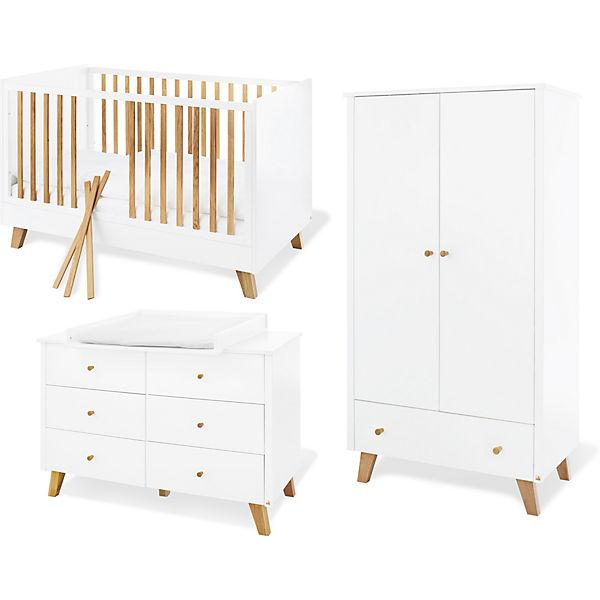 Komplett Kinderzimmer Pan Extrabreit Weiss Lackiert Eiche 70 X 140 Cm Pinolino