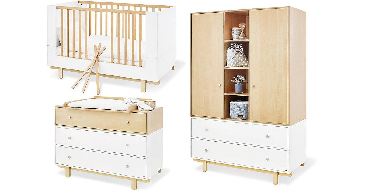 Pinolino · Komplett Kinderzimmer Boks, breit und groß, 3-tlg. (Kinderbett 70 x 140 cm, breite Wickelkommode und Kleiderschrank 2-türig), weiß lackiert, Ahorn Dekor