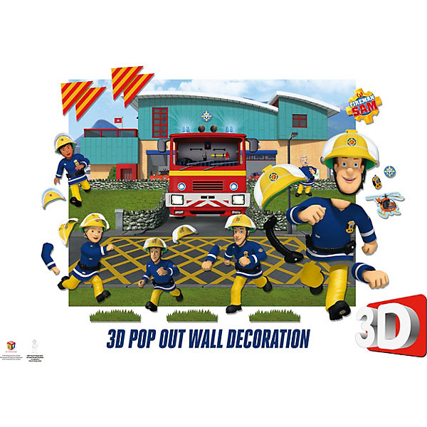 Wandsticker Fireman Sam 3d Pop Out Wall Decoration Feuerwehrmann