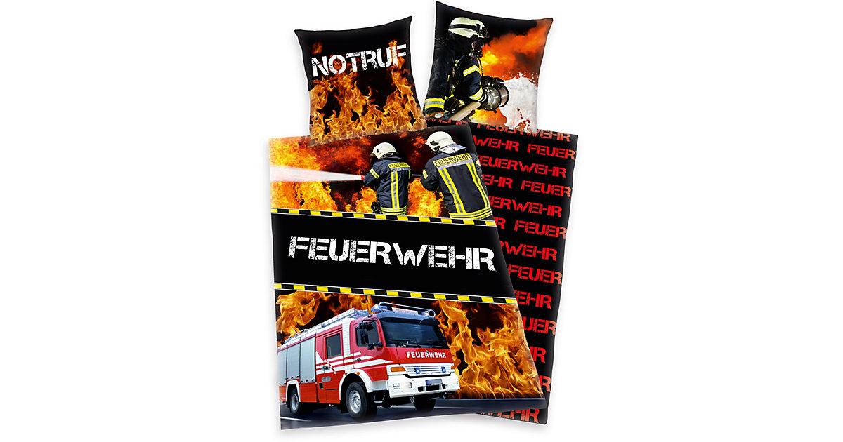 Kinder- Wendebettwäsche Notruf Feuerwehr, Renforcé, 135 x 200 cm