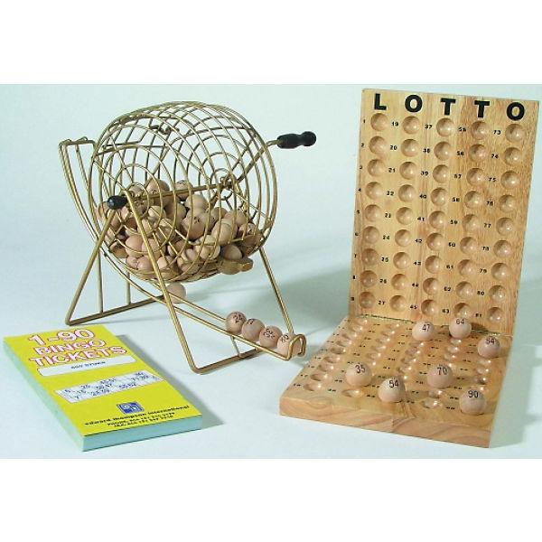 Bingo aus Holz mit Metallkorb,
