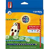 Цветные карандаши GROOVE с эргономичными выемками, 24 цвета