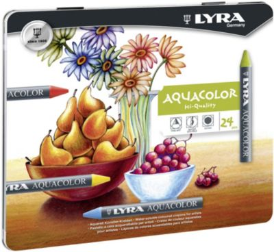 Акварельные цветные мелки AQUACOLOR, водорастворимые, 24 цветов