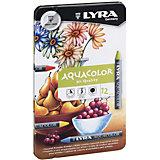 Акварельные цветные мелки AQUACOLOR, водорастворимые, 12 цветов
