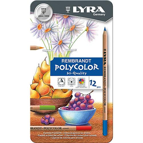 Профессиональные художественные карандаши POLYCOLOR, 12 цветов от LYRA