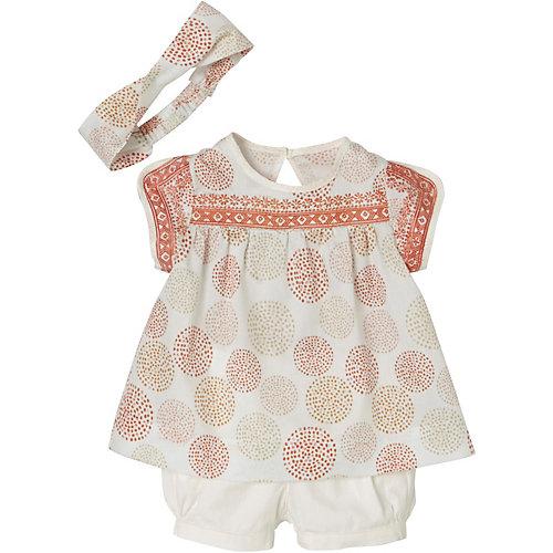 vertbaudet Baby Set Kurzarmbluse + Shorts + Haarband Gr. 80 Mädchen Kinder | 03611652523037