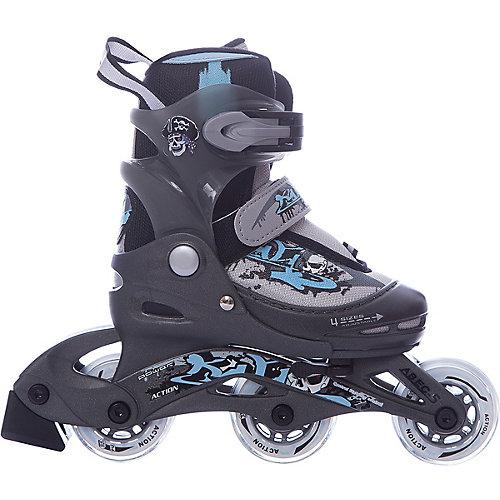 Набор: коньки Action ролик, защита, шлем - серый от Action