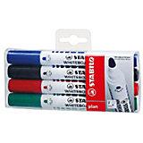 """Набор маркеров для досок Stabilo """"Plan"""" 2,5-3,5 мм, 4 шт"""