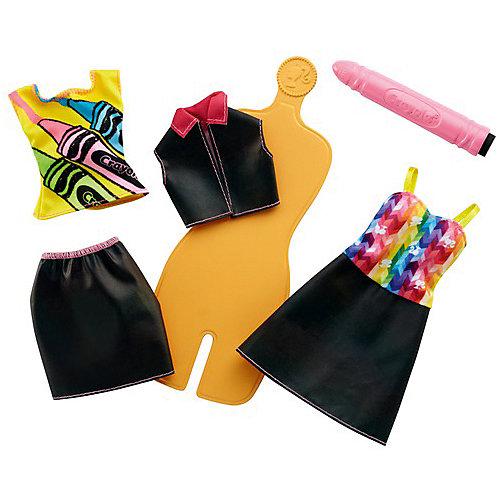 """Игровой набор Barbie Crayola """"Раскрась наряды"""" Радужный дизайн, с оранжевым манекеном от Mattel"""