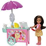 Игровой набор с мини-куклой Barbie Челси с тележкой мороженого