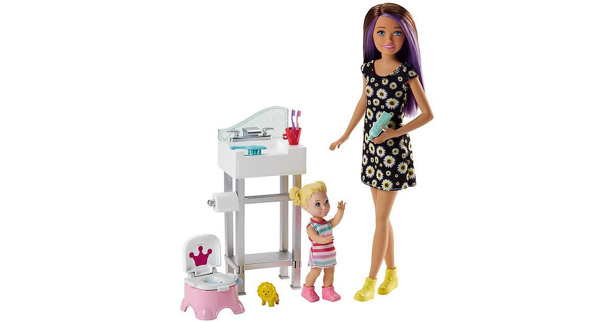 Barbie Skipper Babysitter Puppe (brünett), Spielset mit Baby-Puppe & Töpfchen beige/braun