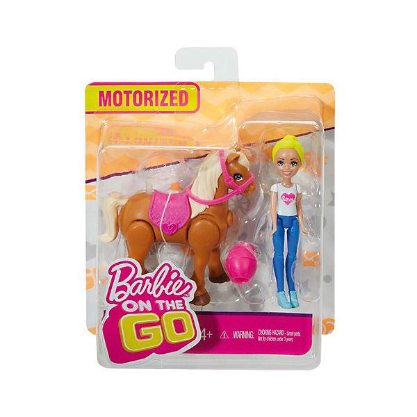 """Игровой набор с мини-куклой Barbie """"В движении"""" Пони и кукла в розовом шлеме"""