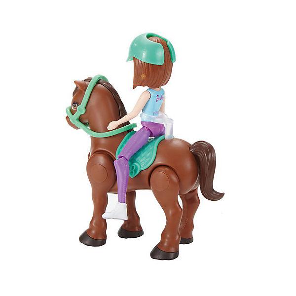 """Игровой набор с мини-куклой Barbie """"В движении"""" Пони и кукла в зелёном шлеме"""