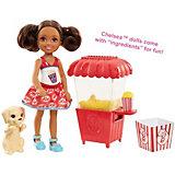 """Игровой набор с мини-куклой Barbie """"Челси и щенок"""" Ларёк с попкорном"""