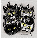 """Скетчбук Канц-Эксмо """"Чёрные коты"""", 80 листов"""