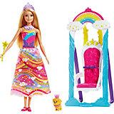 """Набор с куклой Barbie """"Dreamtopia"""" Принцесса и радужные  качели, 29 см"""