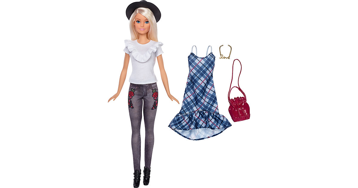 Barbie Fashionistas Puppe + Mode Geschenkset mit schwarzem Hut und blauem Karo-Kleid