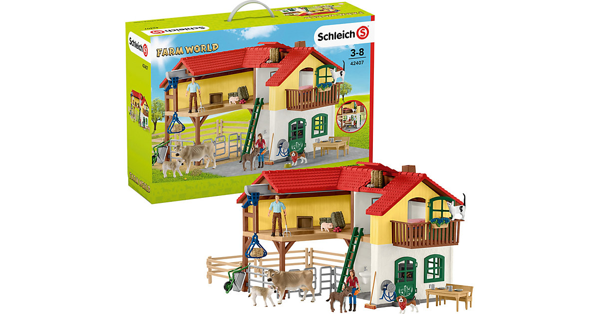 SCHLEICH 42407 Farm World: Bauernhaus mit Stall und Tieren