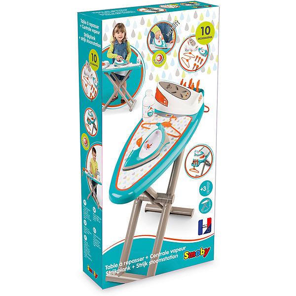 Игровой набор Smoby Гладильная доска + утюг с паровой станцией