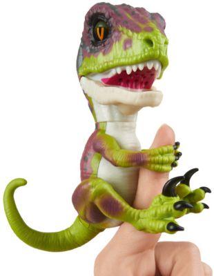 Интерактивный динозавр Fingerlings, 12 см (зеленый с фиолетовым) WowWee