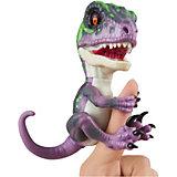 Интерактивный динозавр Fingerlings, 12 см (фиолетовый с темно-зеленым) WowWee