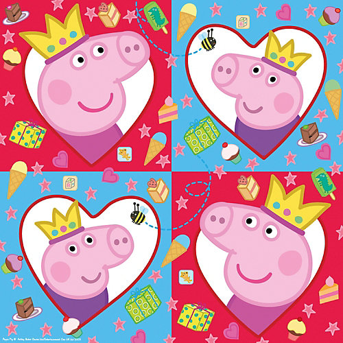 """Салфетки Росмэн """"Свинка Пеппа-принцесса"""" 33х33 см., 12  шт. - разноцветный от Росмэн"""