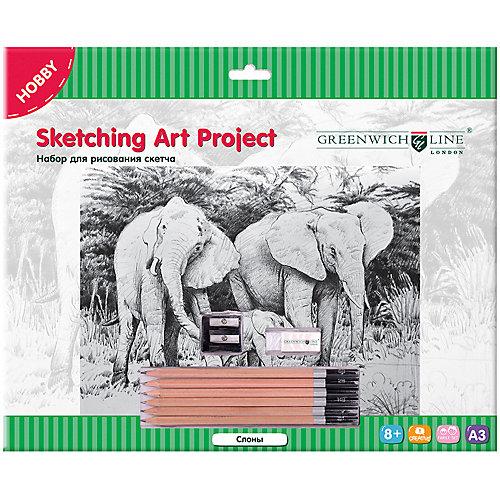 Набор для рисования скетча Greenwich Line «Слоны» от Greenwich Line