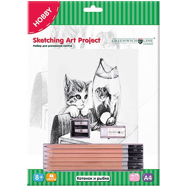 Набор для рисования скетча Greenwich Line «Котенок и рыбка»