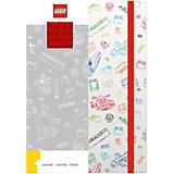 Книга для записей (96 листов, линейка) с резинкой LEGO, цвет: красный, белый