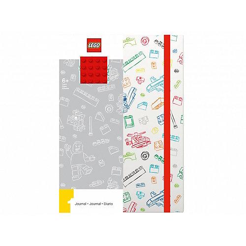 Книга для записей (96 листов, линейка) с резинкой LEGO, цвет: красный, белый от LEGO