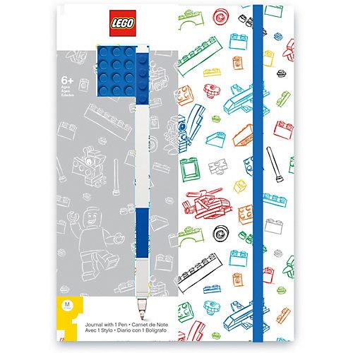Книга для записей (96 листов, линейка) с синей гелевой ручкой LEGO, цвет: синий, белый от LEGO
