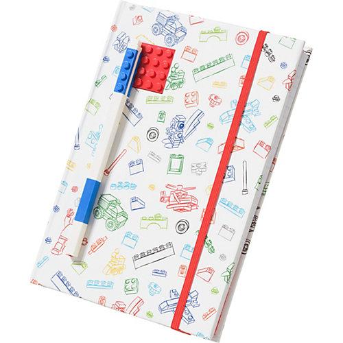Книга для записей (96 листов, линейка) с синей гелевой ручкой LEGO, цвет: красный, белый от LEGO