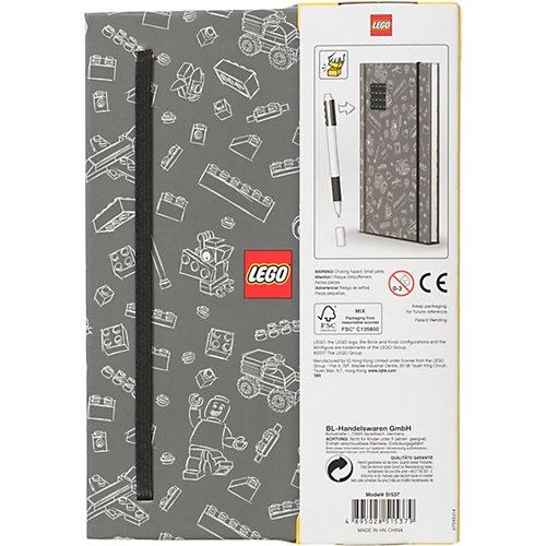 Книга для записей (96 листов, линейка) с черной гелевой ручкой LEGO, цвет: черный, серый от LEGO