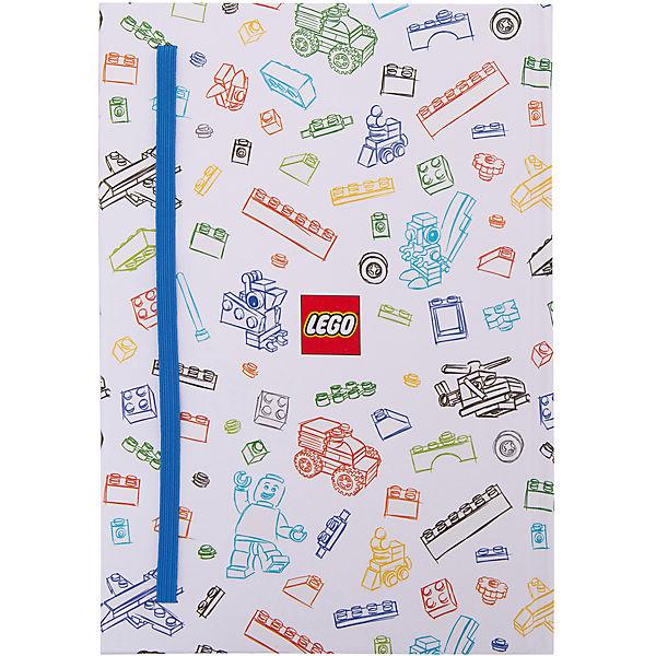 Книга для записей (96 листов, линейка) с резинкой LEGO, цвет: синий, белый